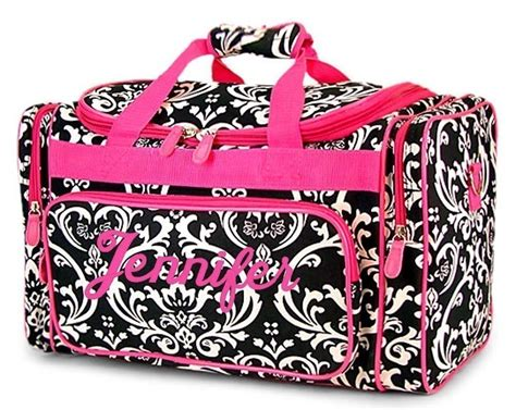 personalized duffel duffle bag black damask hot pink accents
