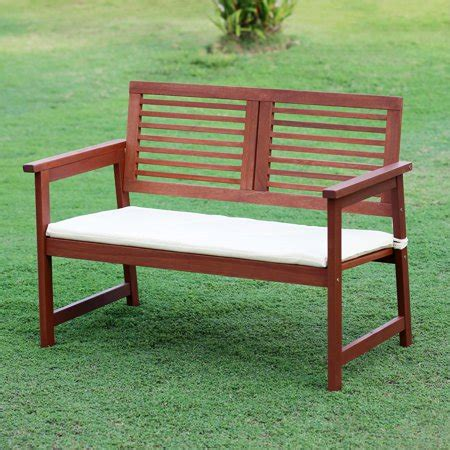 walmart garden bench furinno tioman teak hardwood outdoor bench with cushion