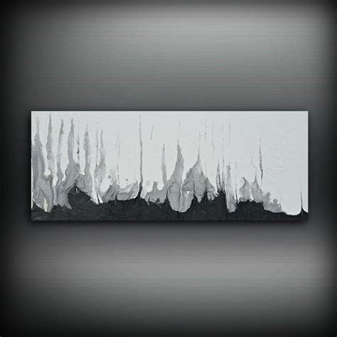 Black And White Canvas Painting Abstract by Black And White Silver Painting 16 Quot X 40 Quot Acrylic Painting
