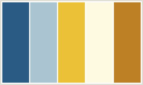 colors that go with beige colorcombo385 with hex colors 2a5b84 aac4d1 ebc137