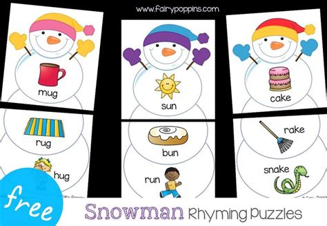 snowman rhyming puzzles  images winter theme