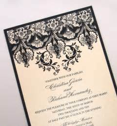 fancy wedding invitations ivory black wedding invitations onewed