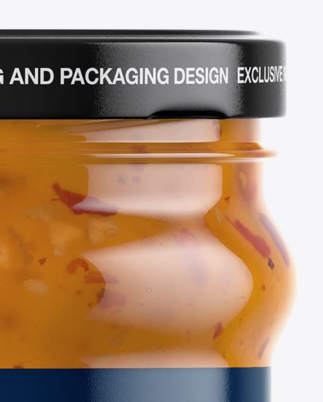 Free frosted glass cosmetic jar w/ wooden lid mockup. Clear Glass Jar with Sweet & Sour Sauce Mockup in Jar ...