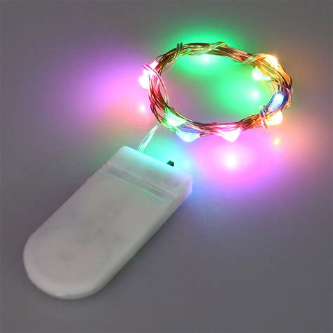 multi color cr2032 button battery operated led string lights