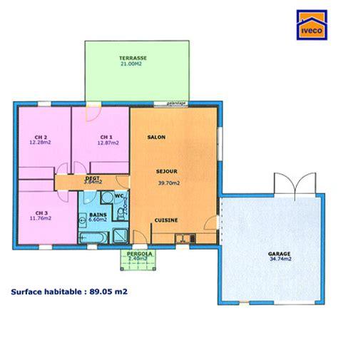 plan maison plain pied 3 chambres maisons bungalow and spaces