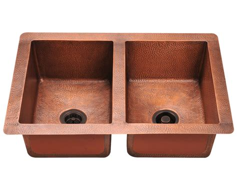 double equal bowl copper sink