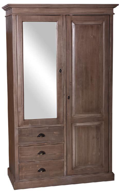 meuble penderie chambre armoire 2 portes 3 tiroirs l 120 cm en pin massif picardie