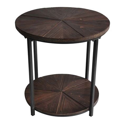 iron accent table rustic iron and fir wood end table 1924