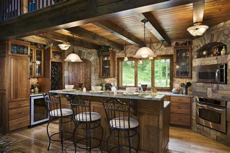 log home kitchens door to inspiration found in a woodsy log home