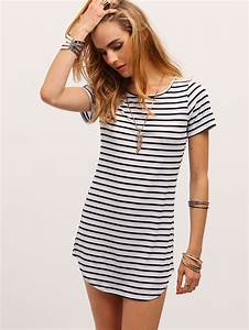 robe t shirt a rayure noir et blanc french romwe With robe tee shirt noir