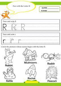 letter r worksheets for kindergarten preschool and 756 | Letter R tracing writing worksheet 1 214x300