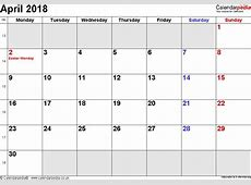 Excel April Calendar 2018 Archives Indo Templates
