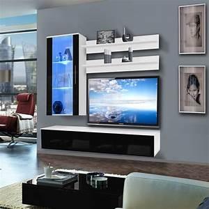 Meuble Tv Mural Blanc : meuble tv mural stick 200cm noir blanc ~ Dailycaller-alerts.com Idées de Décoration