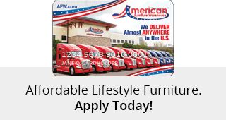 American furniture credit card is a great credit card if you have fair credit (or above). Furniture Financing Made Easy | American Furniture Credit Card | AFW.com