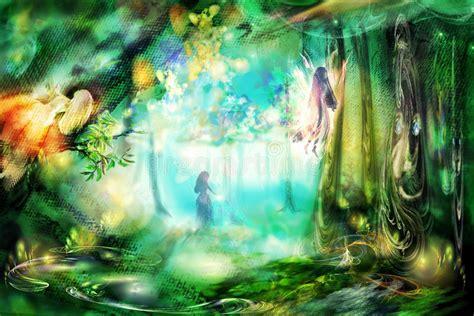 Bild 8 12 Aus Dem Album Anime Elfen Lied La For 234 T Magique Avec Des F 233 Es Illustration Stock