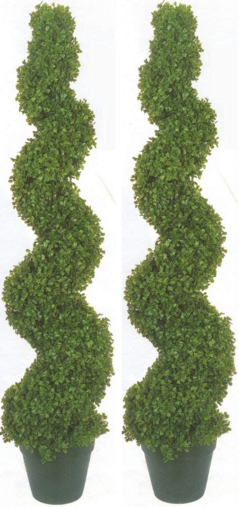 2 boxwood spiral topiary artificial outdoor uv tree 4 2 quot pool patio bush 50 quot 67 ebay