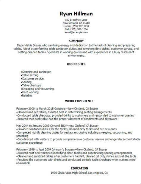 Busser Resume Description by Professional Busser Resume Templates To Showcase Your Talent Myperfectresume