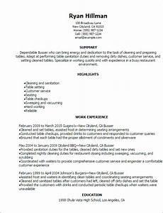 busser resume template best design tips myperfectresume With cover letter for busser