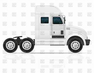 American prime mover with white cabin - cargo truck, side ...
