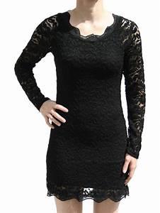 robe dentelle noire courte manche longue de lutinefr With robe noire manche longue dentelle
