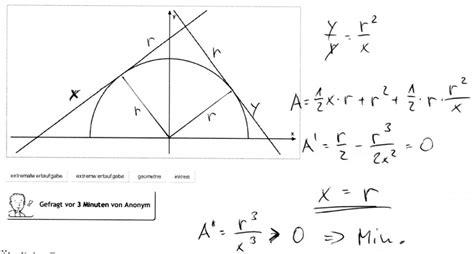 extremwertaufgabe halbkreis und dreieck mathelounge