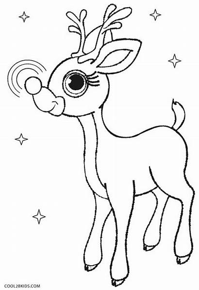 Reindeer Rudolph Coloring Pages Nosed Template Printable