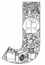 Coloring Adults Alphabet Pages Letter Popular sketch template