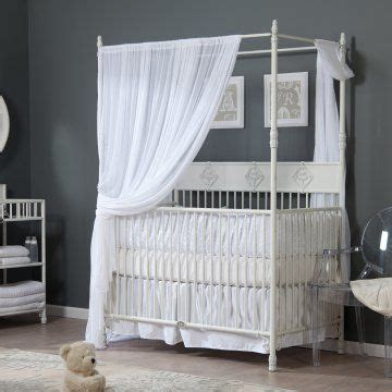 bratt decor wrought iron indigo convertible canopy crib distressed white baby 3