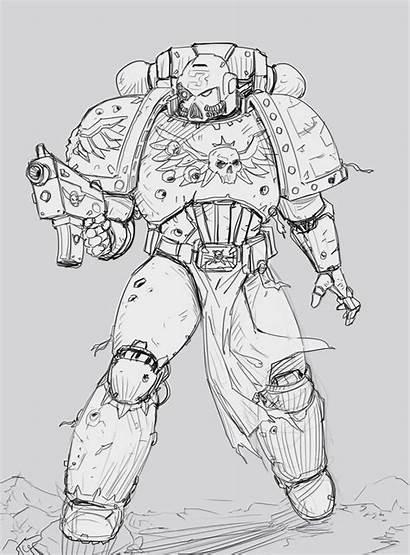 Warhammer 40k Marine Space Sketch Marines Drawing