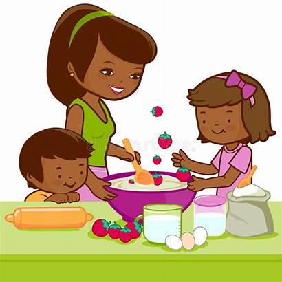 Mother Cooking Children Kitchen African Cake Vector