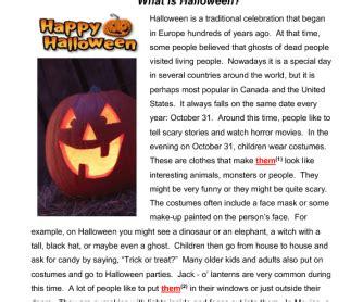 halloween reading grammar practice