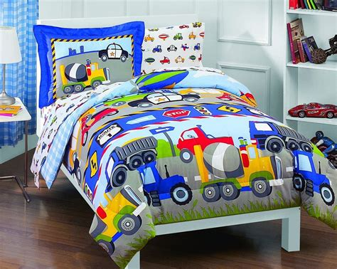 Twin Size Baby Comforter Trucks And Tractors 5pc Boy