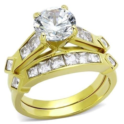 women s 3 15 ct round cz 14k gold plated bridal engagement