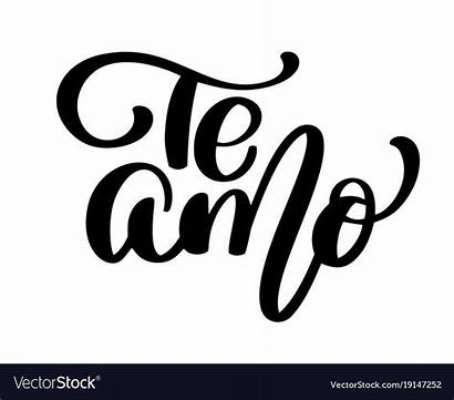 Amo Te Spanish Vector Calligraphy Text Lettering
