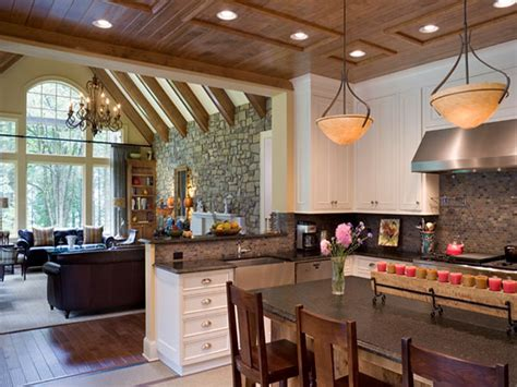 kitchen and living room with open floor plan combined