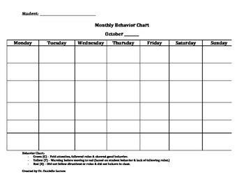 monthly student behavior chart template  danielle garzon