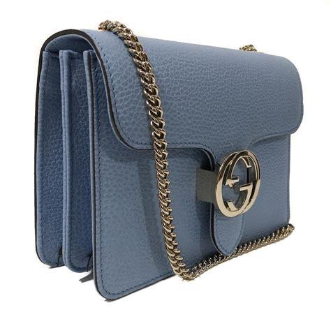 gucci blue leather marmont interlocking gg crossbody bag