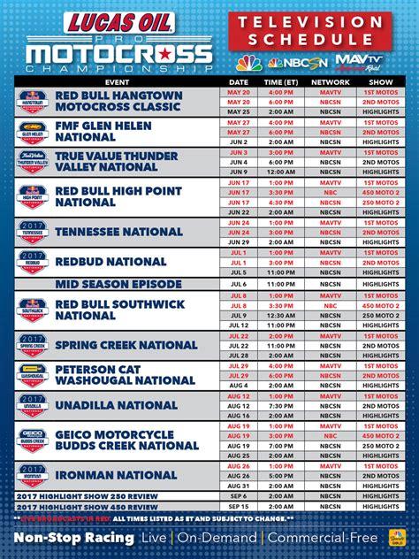 motocross ama schedule lucas oil pro motocross 2017 pro motocross broadcast