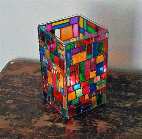 faux stained glass mosaic luminary diy