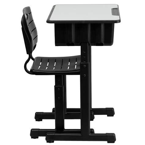 adjustable height student desk and chair with black