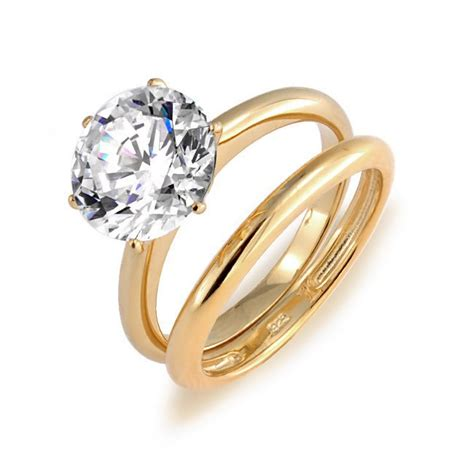 solitaire  ct cz  gold plated vermeil