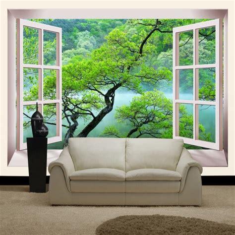 false window green trees home decor  large mural