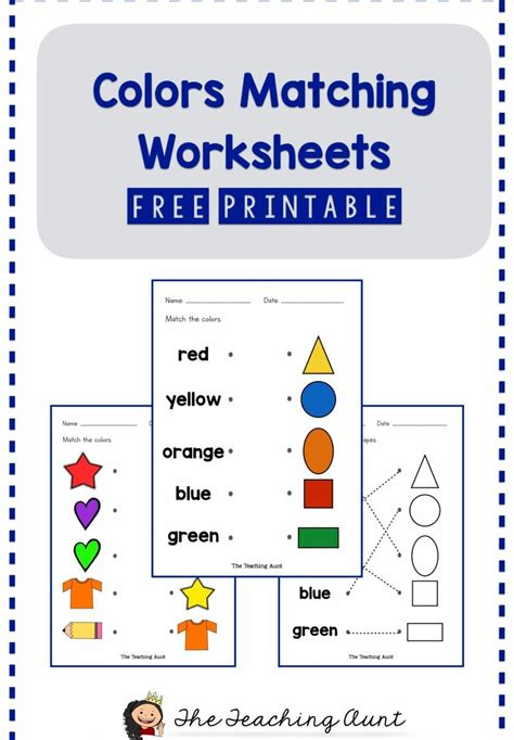 matching colors worksheets    images