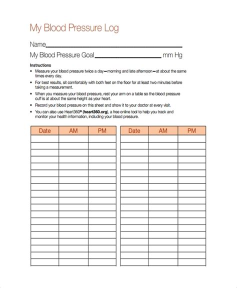 blood pressure chart templates sample templates