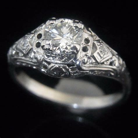 c 1920s art deco old cut diamond 14k white gold ring