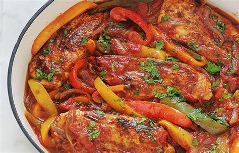 poulet aux poivrons oignons  tomates page  bon