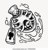 Vial Bottle Magic Poison Drawn Tattoo Drawings Drawing Shutterstock Bottles Gothic Symbol Zeichnen Draw Vektorgrafik Tattoos Flash Illustrations Isolated Lernen sketch template