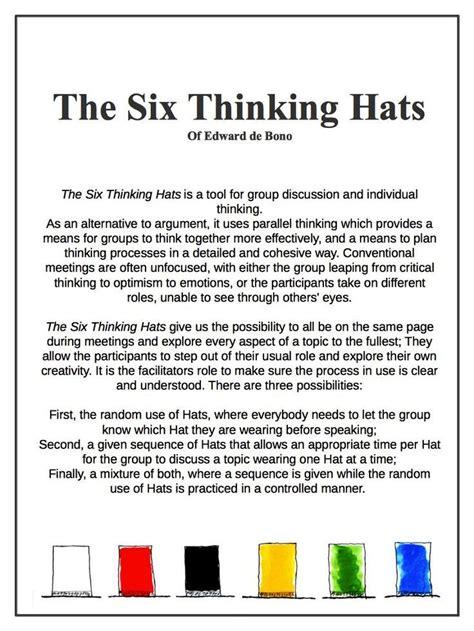 1 business studies grade 11. The Six Thinking Hats of Edward de Bono   Six thinking hats, Critical thinking skills ...