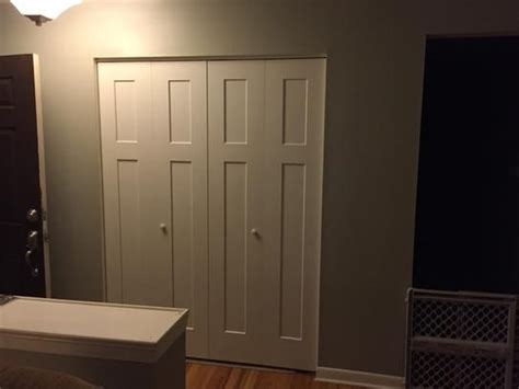 jeld wen      craftsman white painted smooth molded composite mdf closet bi fold door