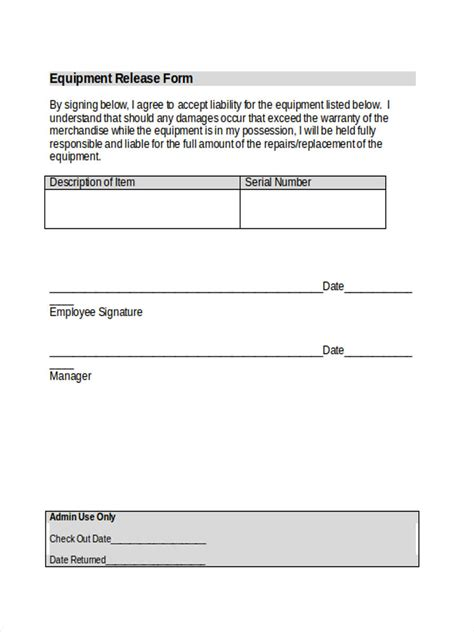 equipment liability forms  ms word